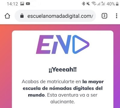 Email de bienvenida de la Escuela Nómada Digital (END).